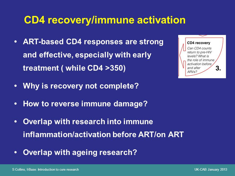 S Collins, I-Base: Introduction to cure researchUK-CAB January 2013 CD4 recovery/immune activation ART-based CD4 responses are strong and effective, e