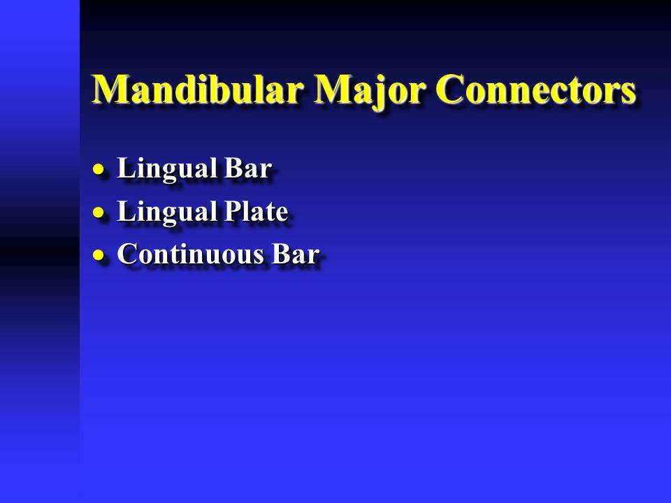 Mandibular Major Connectors  Lingual Bar  Lingual Plate  Continuous Bar  Lingual Bar  Lingual Plate  Continuous Bar