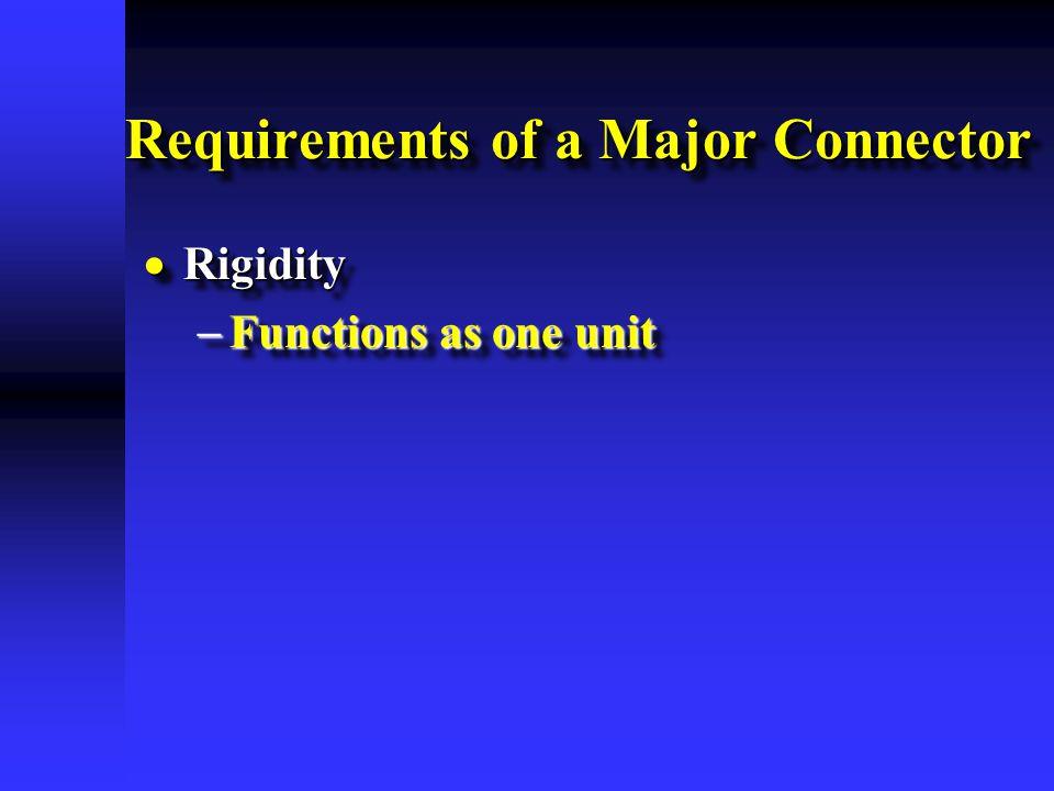 Requirements of a Major Connector  Rigidity  Functions as one unit  Rigidity  Functions as one unit