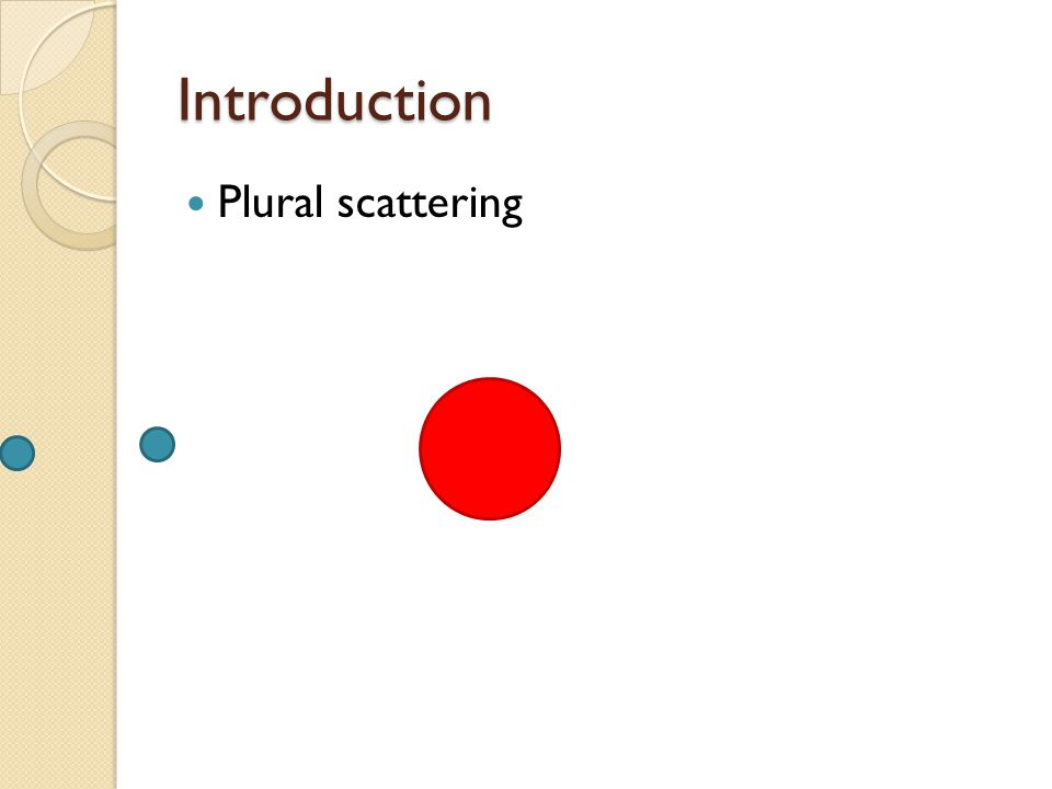 Introduction Plural scattering
