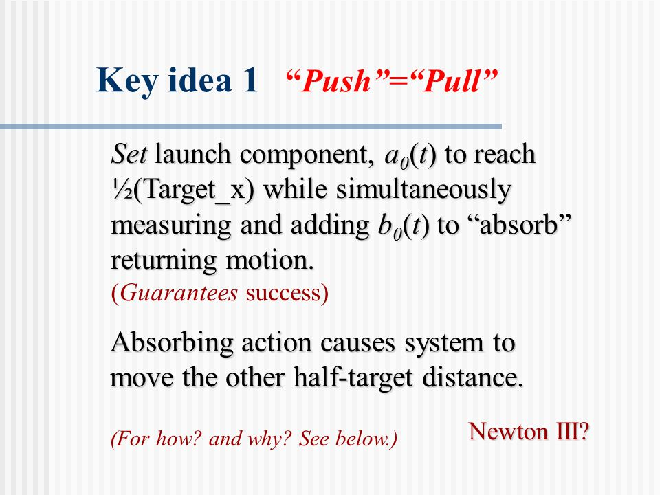 Set launch component, a 0 (t) to reach ½(Target_x) while simultaneously measuring and adding b 0 (t) to absorb returning motion.