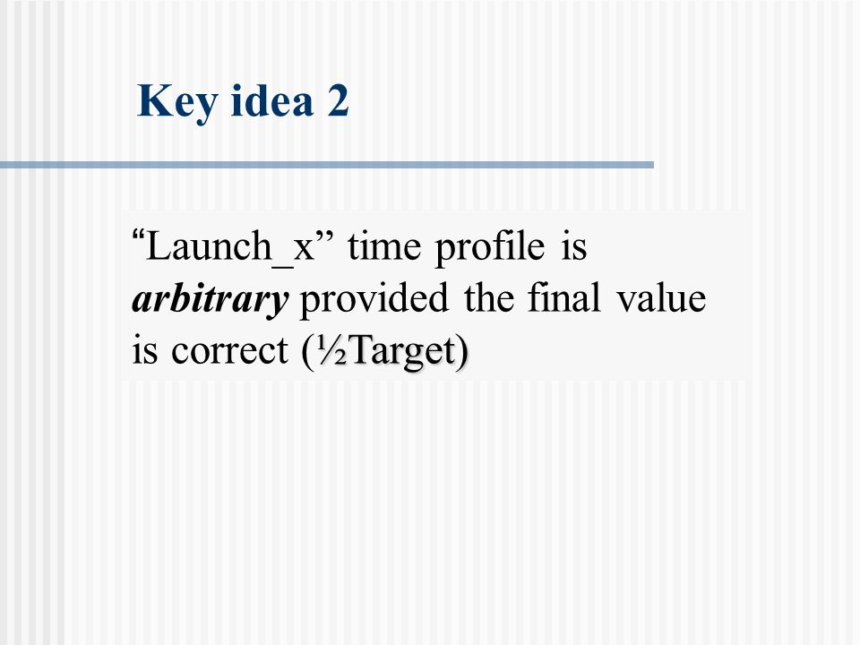 Key idea 2 ½Target) Launch_x time profile is arbitrary provided the final value is correct (½Target)