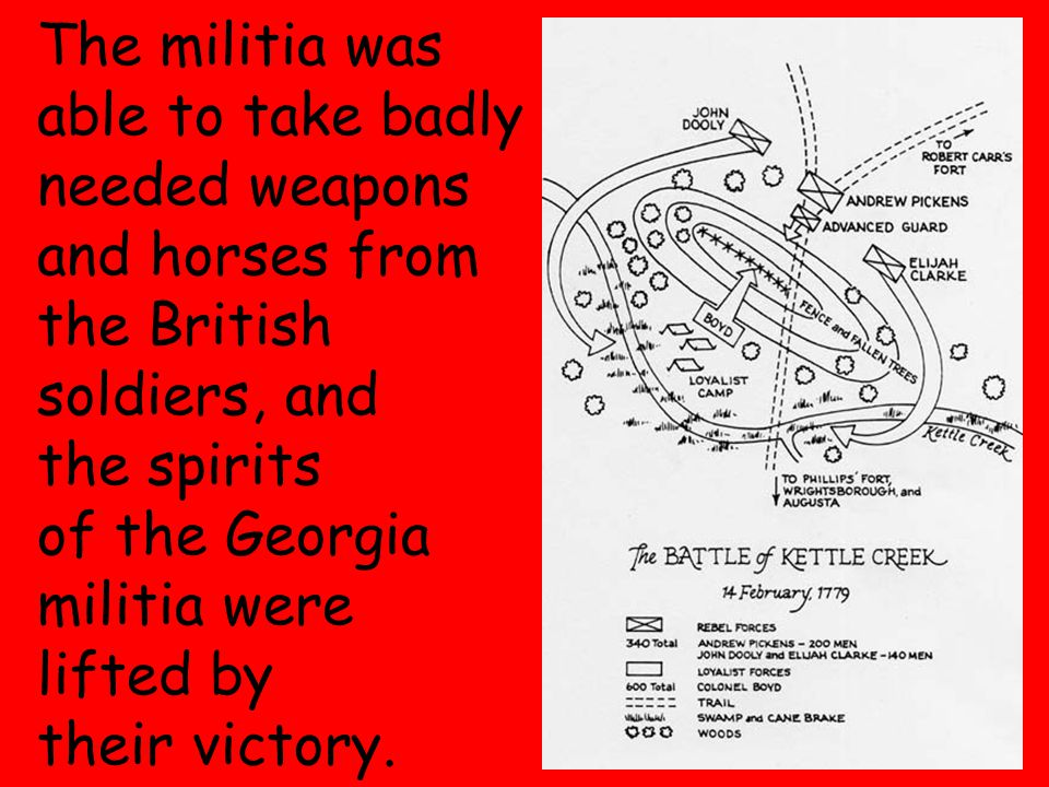 6 The militia was able to take badly needed weapons and horses from the British soldiers, and the spirits of the Georgia militia were lifted by their victory.