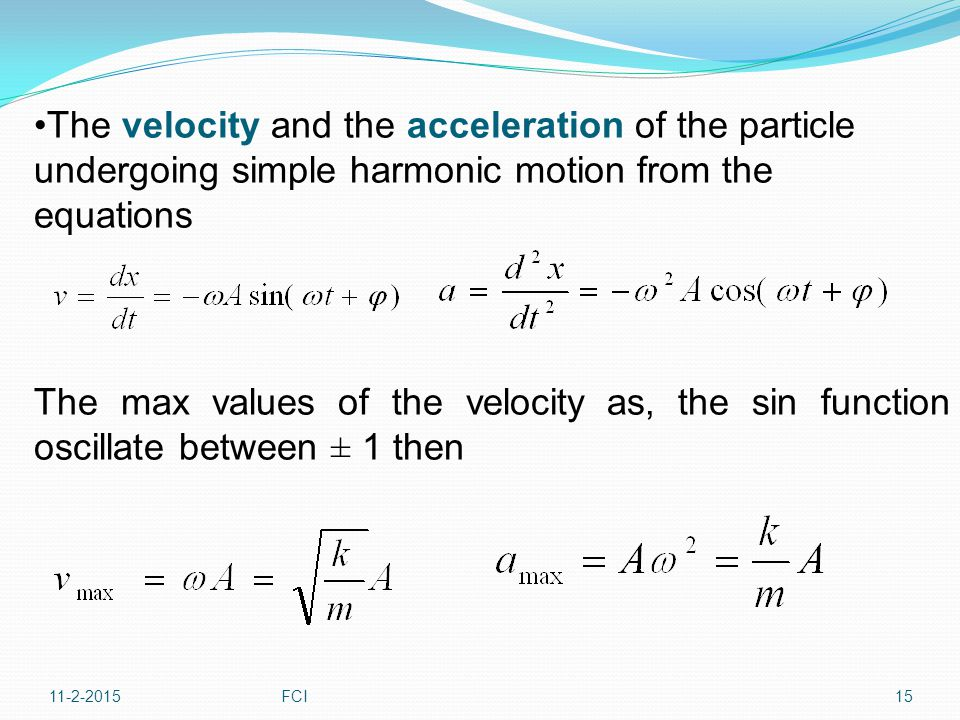 The velocity and the acceleration of the particle undergoing simple harmonic motion from the equations The max values of the velocity as, the sin func