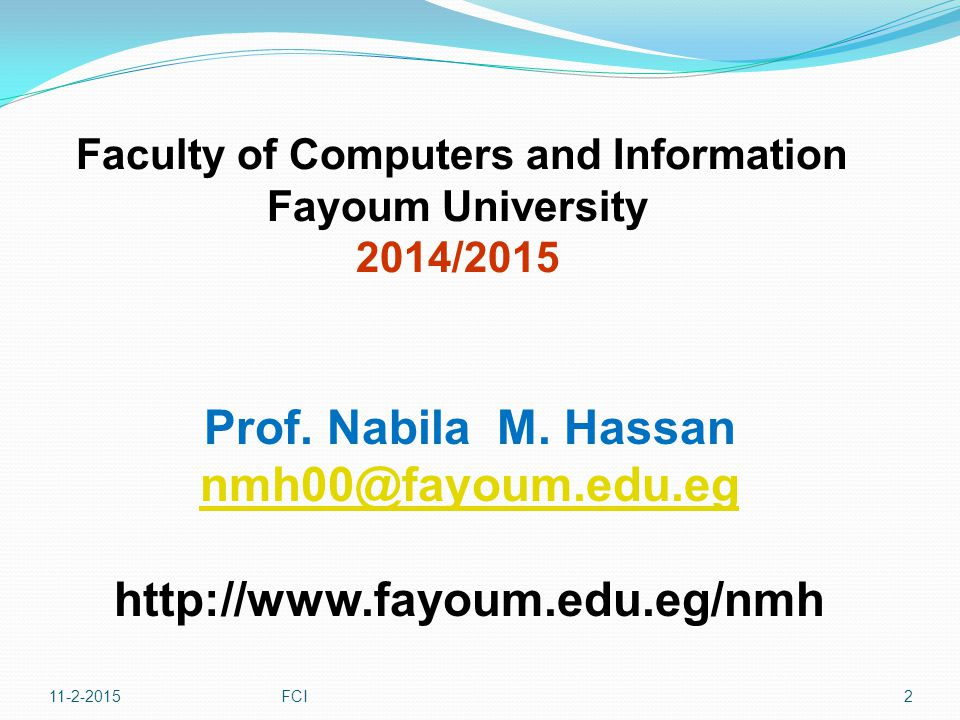 11-2-2015FCI3 Course Name: Physics 2 Part II: Waves Content : Chapter 1: Oscillation Motion - Motion of a spring - Energy of the Simple Harmonic Oscillator - Comparing SHM with uniform motion