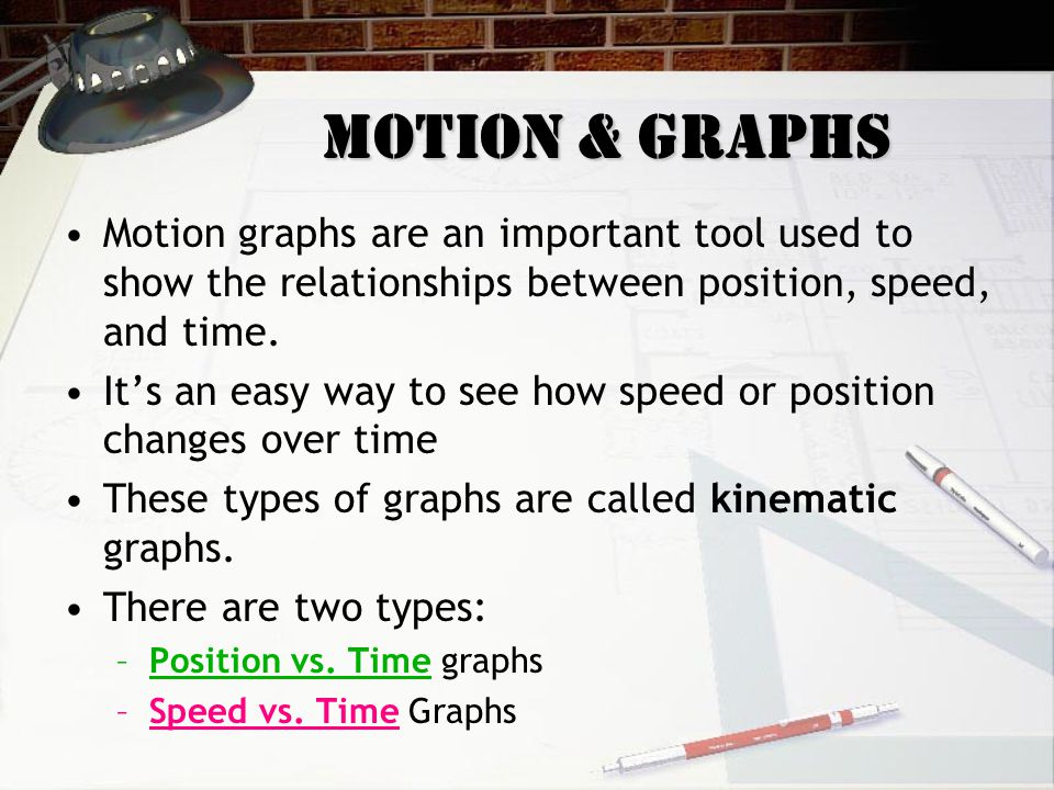 Motion & Graphs Motion graphs are an important tool used to show the relationships between position, speed, and time. It's an easy way to see how spee
