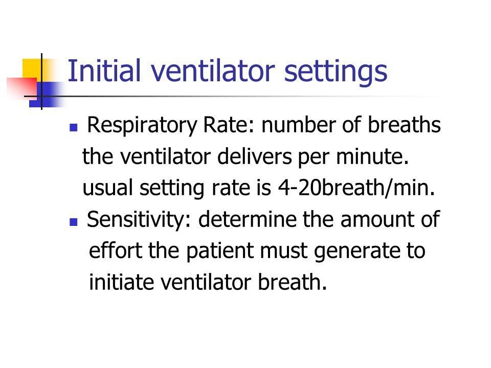 Initial ventilator settings Respiratory Rate: number of breaths the ventilator delivers per minute.