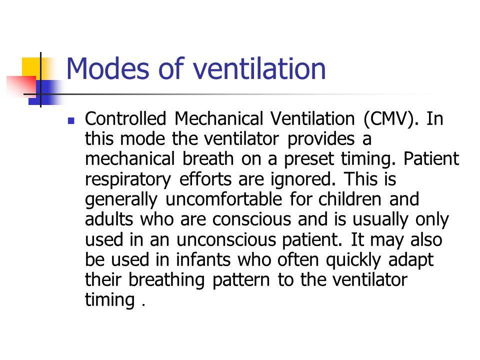 Modes of ventilation Controlled Mechanical Ventilation (CMV).