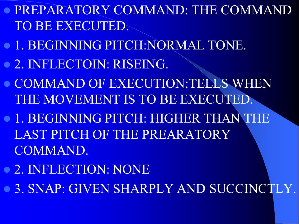 TYPES OF DRILL COMMANDS