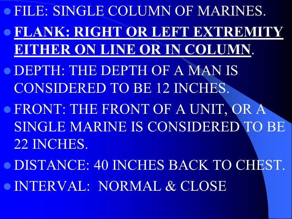 DRILL TERMS ELEMENT: INDIVIDUAL, SQUAD, PLATOON, COMPANY OR LARGER.