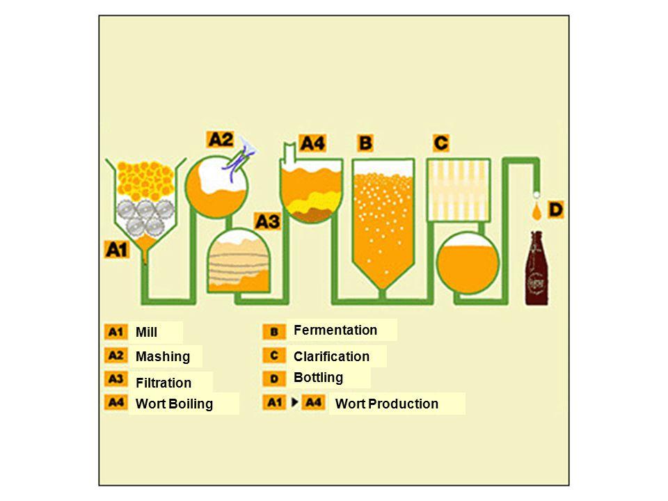 Mill Mashing Fermentation Clarification Bottling Wort Production Filtration Wort Boiling