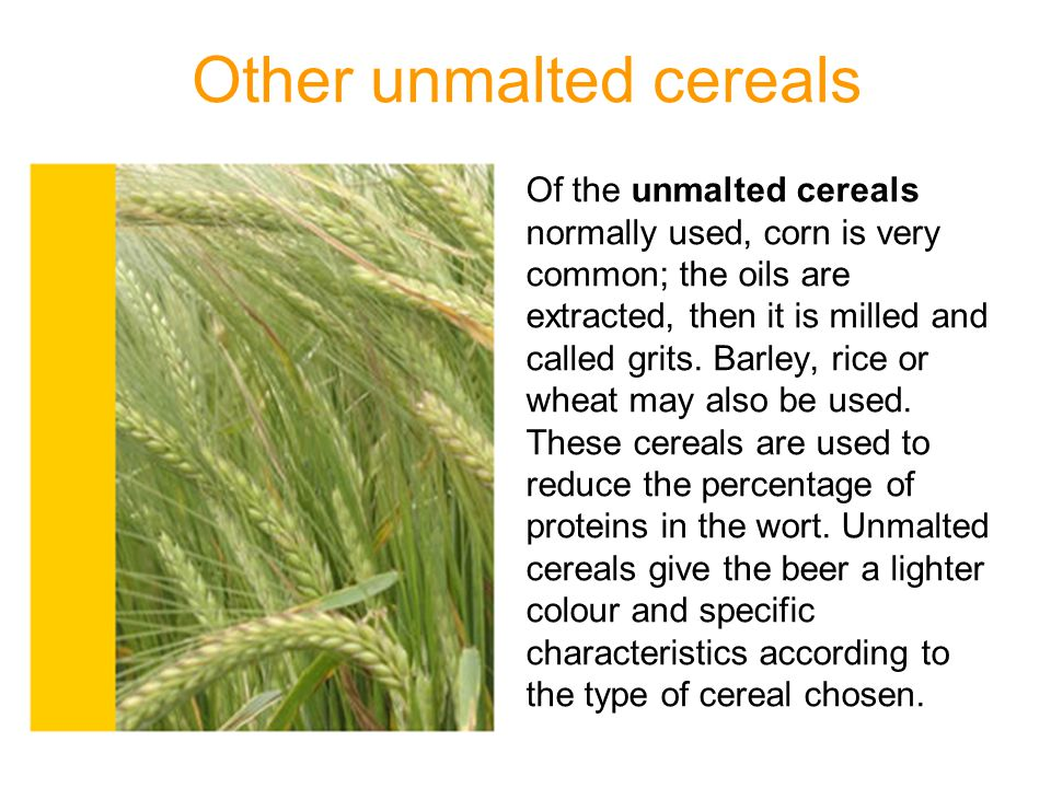 Other unmalted cereals Of the unmalted cereals normally used, corn is very common; the oils are extracted, then it is milled and called grits. Barley,