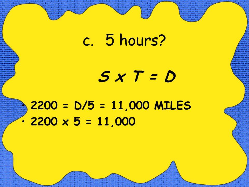 b.3 hours? S/T = D 2200 = D/3 = 6600 MILES