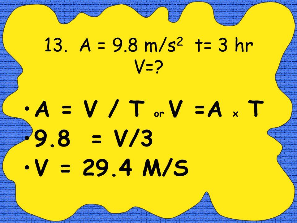 12. V = 40 mi/hr t= 3 hrs. D=? V = D / T or D= V x T 40 = D/3 or D= 40 x 3 120 MILES =D