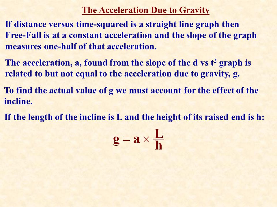 The Acceleration Due to Gravity If distance versus time-squared is a straight line graph then Free-Fall is at a constant acceleration and the slope of