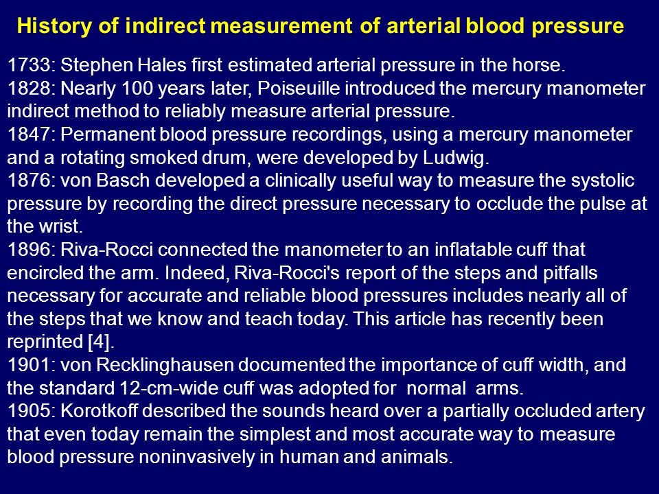1733: Stephen Hales first estimated arterial pressure in the horse. 1828: Nearly 100 years later, Poiseuille introduced the mercury manometer indirect