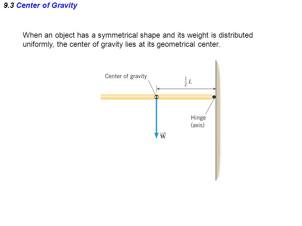 9.3 Center of Gravity When an object has a symmetrical shape and its weight is distributed uniformly, the center of gravity lies at its geometrical ce