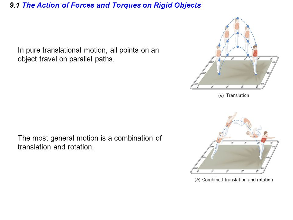 9.1 The Action of Forces and Torques on Rigid Objects In pure translational motion, all points on an object travel on parallel paths. The most general