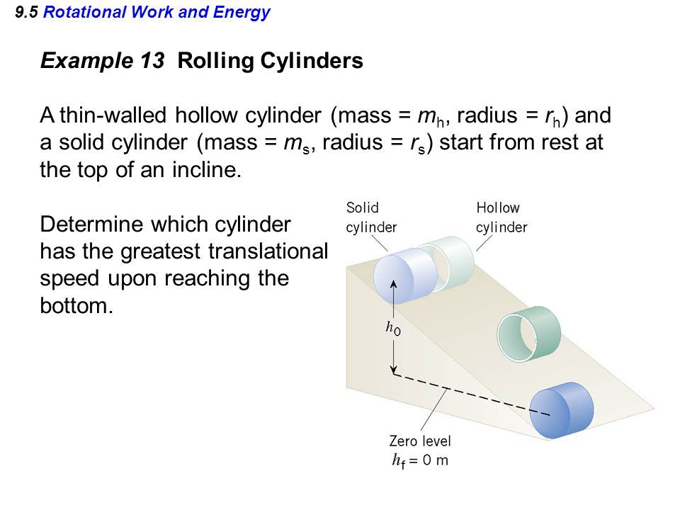 9.5 Rotational Work and Energy Example 13 Rolling Cylinders A thin-walled hollow cylinder (mass = m h, radius = r h ) and a solid cylinder (mass = m s