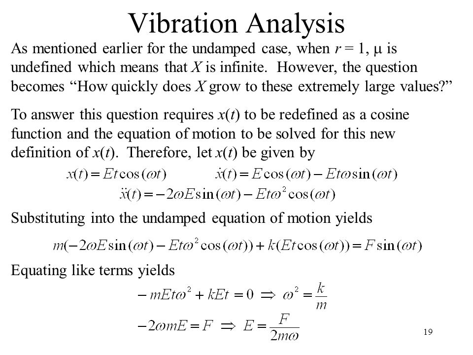 19 Vibration Analysis As mentioned earlier for the undamped case, when r = 1,  is undefined which means that X is infinite. However, the question bec