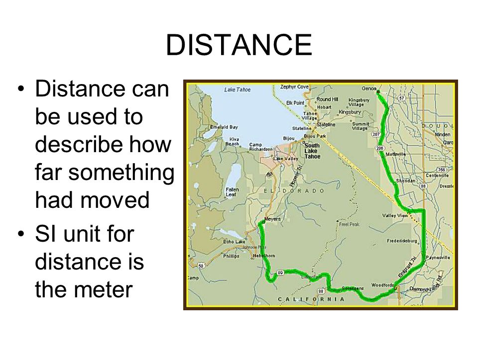 DISTANCE Distance can be used to describe how far something had moved SI unit for distance is the meter