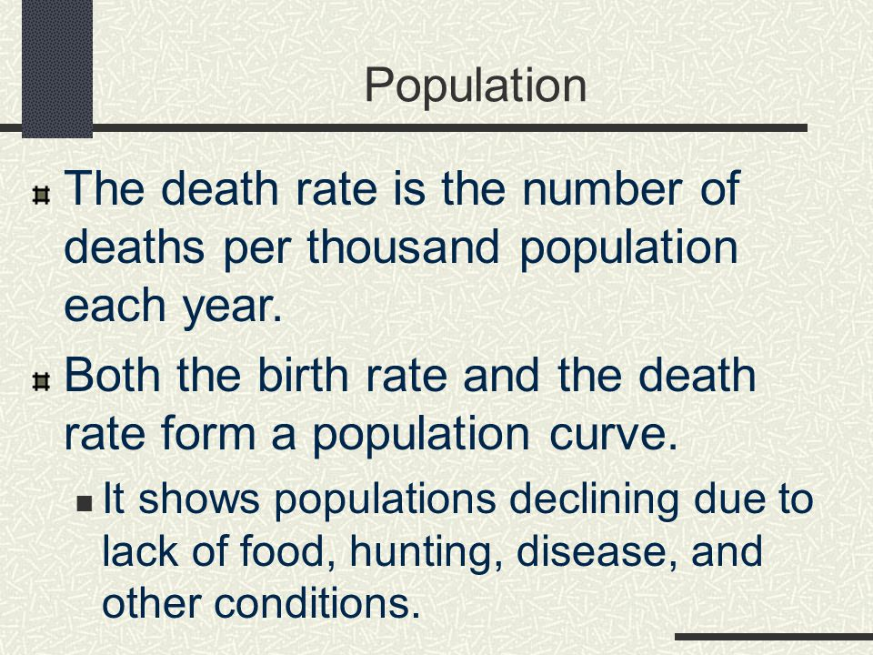 Population The death rate is the number of deaths per thousand population each year.
