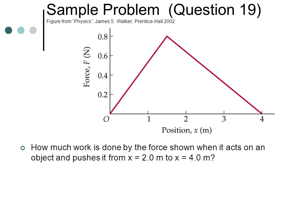 "Sample Problem (Question 19) Figure from ""Physics"", James S. Walker, Prentice-Hall 2002 How much work is done by the force shown when it acts on an ob"