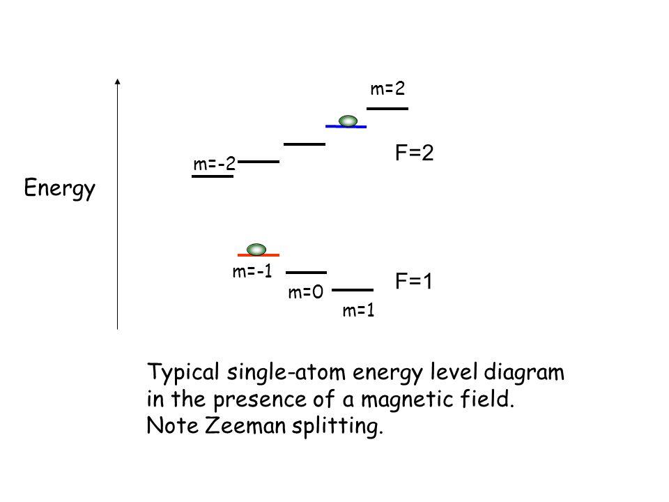 F=2 F=1 m=1 m=-1 m=0 m=2 m=-2 Energy Typical single-atom energy level diagram in the presence of a magnetic field. Note Zeeman splitting.