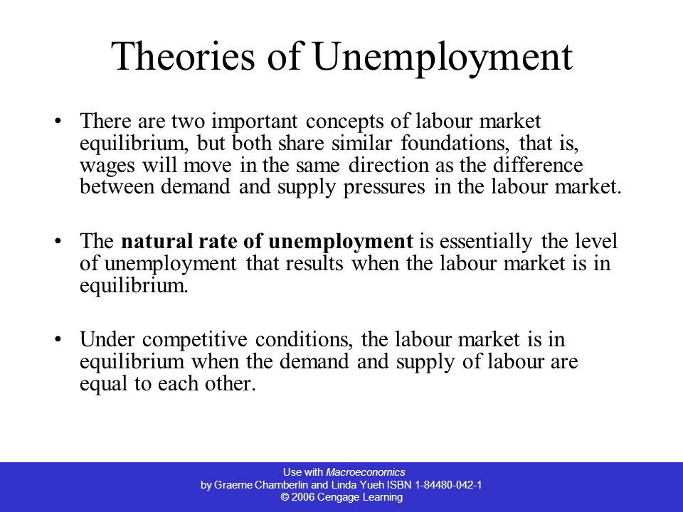 Use with Macroeconomics by Graeme Chamberlin and Linda Yueh ISBN 1-84480-042-1 © 2006 Cengage Learning Theories of Unemployment There are two important concepts of labour market equilibrium, but both share similar foundations, that is, wages will move in the same direction as the difference between demand and supply pressures in the labour market.