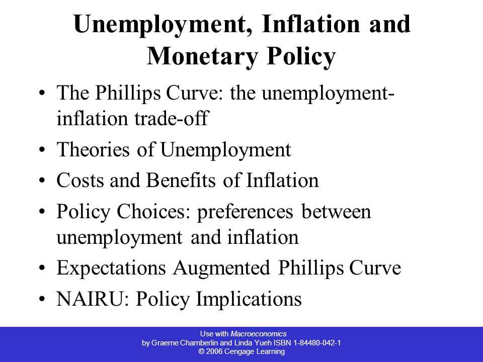 Use with Macroeconomics by Graeme Chamberlin and Linda Yueh ISBN 1-84480-042-1 © 2006 Cengage Learning Unemployment, Inflation and Monetary Policy The Phillips Curve: the unemployment- inflation trade-off Theories of Unemployment Costs and Benefits of Inflation Policy Choices: preferences between unemployment and inflation Expectations Augmented Phillips Curve NAIRU: Policy Implications