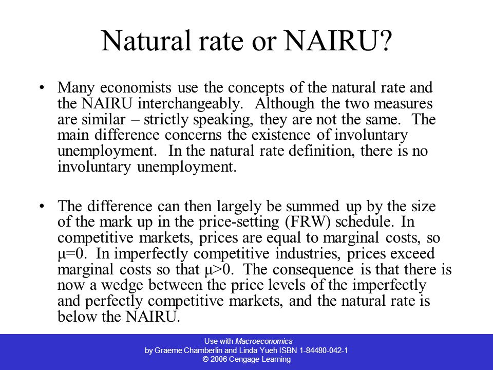 Use with Macroeconomics by Graeme Chamberlin and Linda Yueh ISBN 1-84480-042-1 © 2006 Cengage Learning Natural rate or NAIRU.