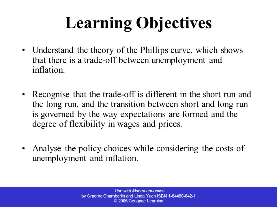 Use with Macroeconomics by Graeme Chamberlin and Linda Yueh ISBN 1-84480-042-1 © 2006 Cengage Learning Learning Objectives Understand the theory of the Phillips curve, which shows that there is a trade-off between unemployment and inflation.