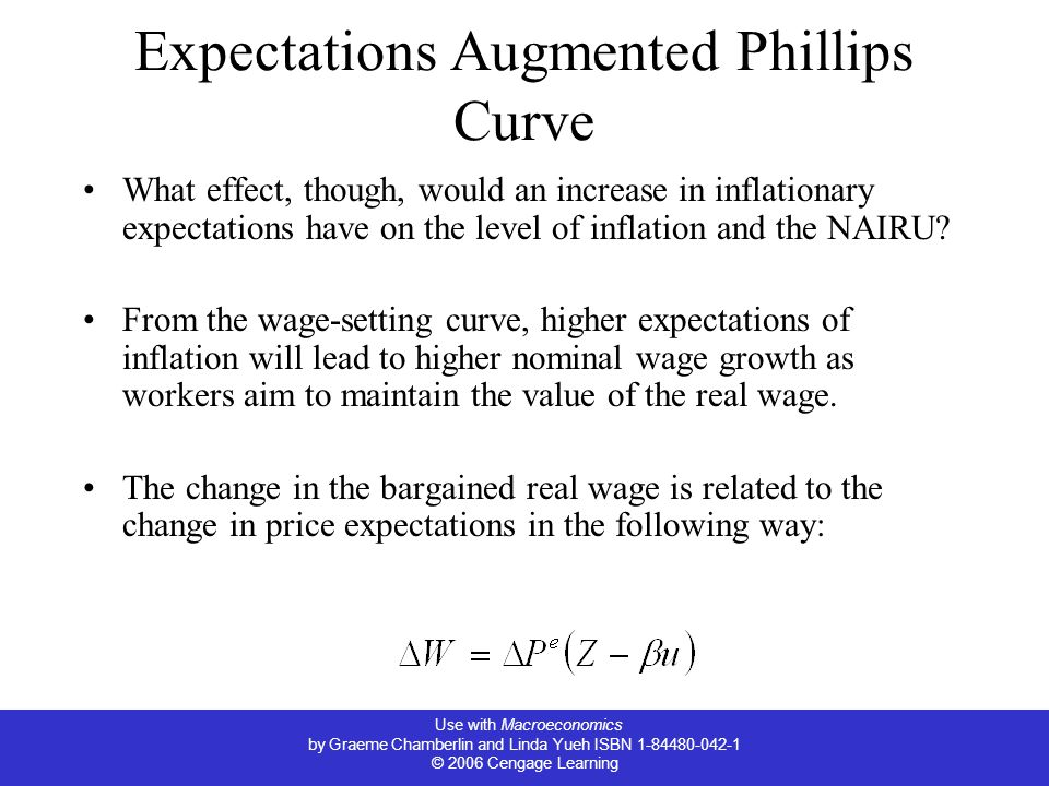 Use with Macroeconomics by Graeme Chamberlin and Linda Yueh ISBN 1-84480-042-1 © 2006 Cengage Learning Expectations Augmented Phillips Curve What effect, though, would an increase in inflationary expectations have on the level of inflation and the NAIRU.