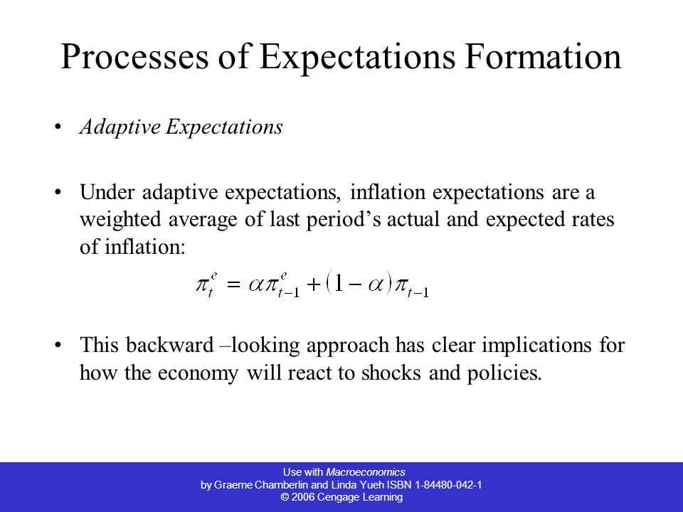 Use with Macroeconomics by Graeme Chamberlin and Linda Yueh ISBN 1-84480-042-1 © 2006 Cengage Learning Processes of Expectations Formation Adaptive Expectations Under adaptive expectations, inflation expectations are a weighted average of last period's actual and expected rates of inflation: This backward –looking approach has clear implications for how the economy will react to shocks and policies.