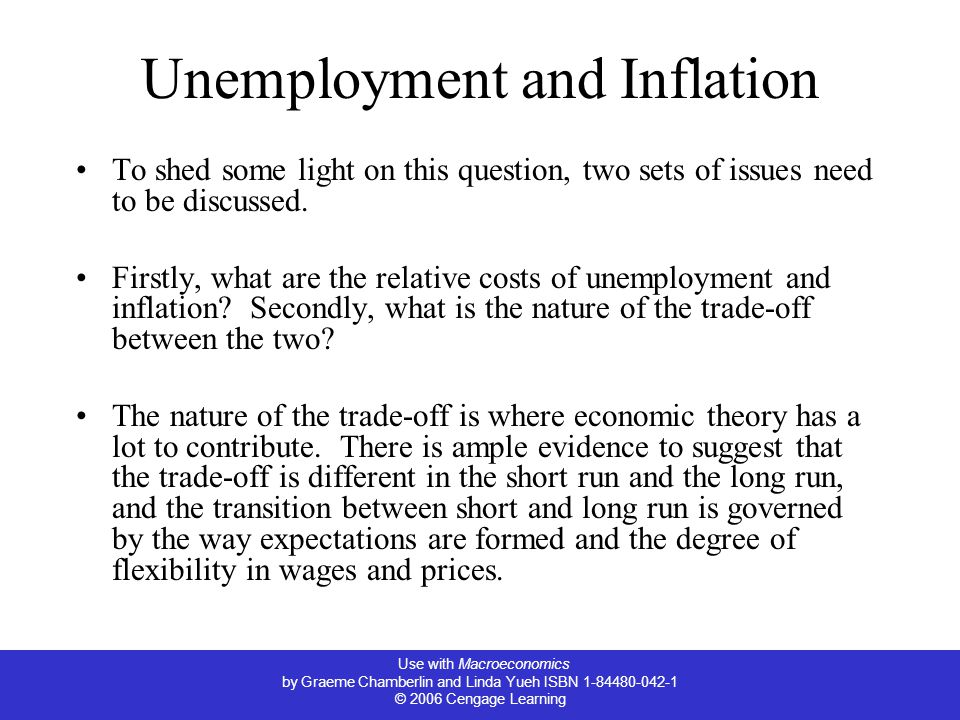 Use with Macroeconomics by Graeme Chamberlin and Linda Yueh ISBN 1-84480-042-1 © 2006 Cengage Learning Unemployment and Inflation To shed some light on this question, two sets of issues need to be discussed.