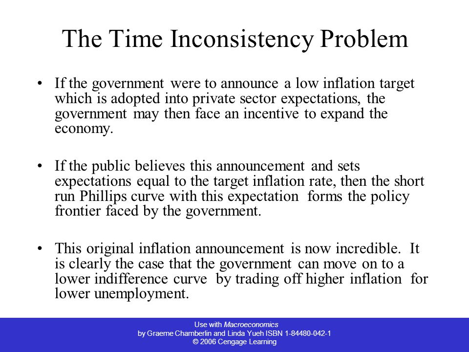Use with Macroeconomics by Graeme Chamberlin and Linda Yueh ISBN 1-84480-042-1 © 2006 Cengage Learning The Time Inconsistency Problem If the government were to announce a low inflation target which is adopted into private sector expectations, the government may then face an incentive to expand the economy.
