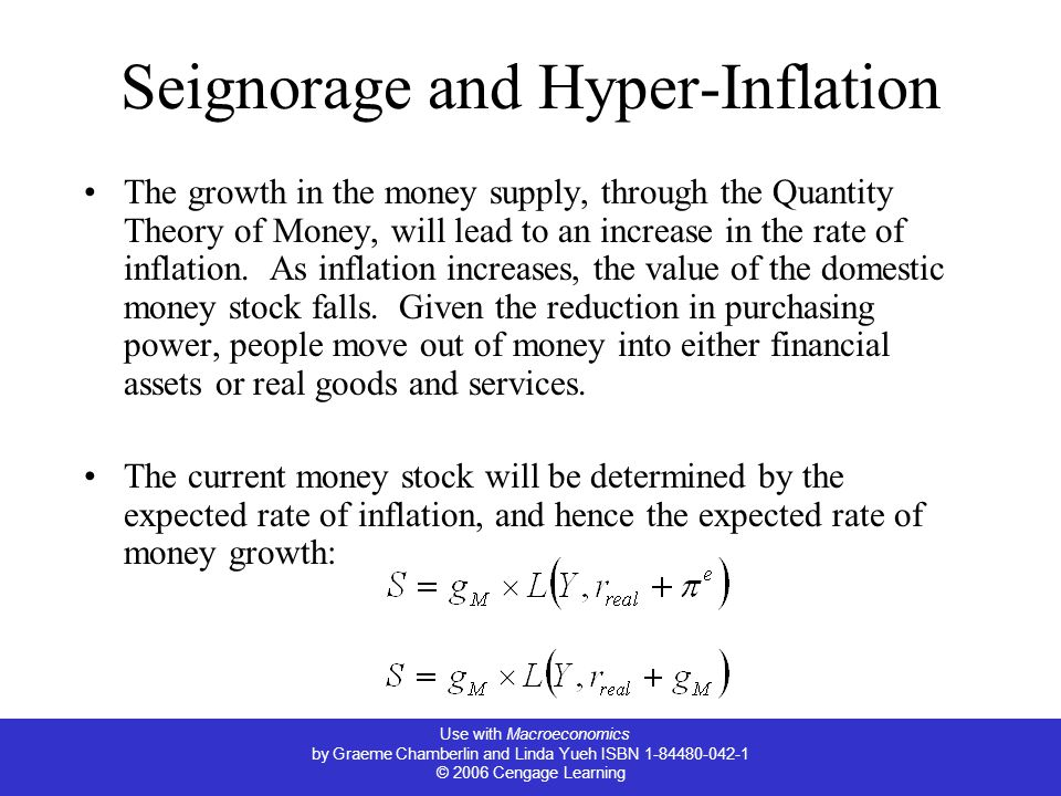 Use with Macroeconomics by Graeme Chamberlin and Linda Yueh ISBN 1-84480-042-1 © 2006 Cengage Learning Seignorage and Hyper-Inflation The growth in the money supply, through the Quantity Theory of Money, will lead to an increase in the rate of inflation.