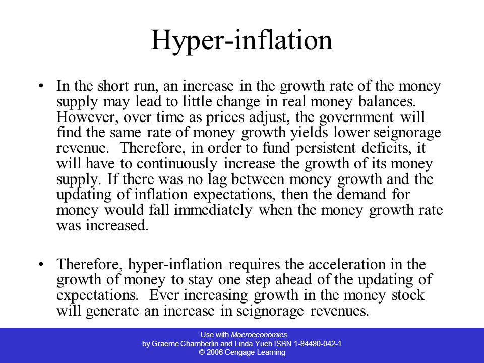 Use with Macroeconomics by Graeme Chamberlin and Linda Yueh ISBN 1-84480-042-1 © 2006 Cengage Learning Hyper-inflation In the short run, an increase in the growth rate of the money supply may lead to little change in real money balances.