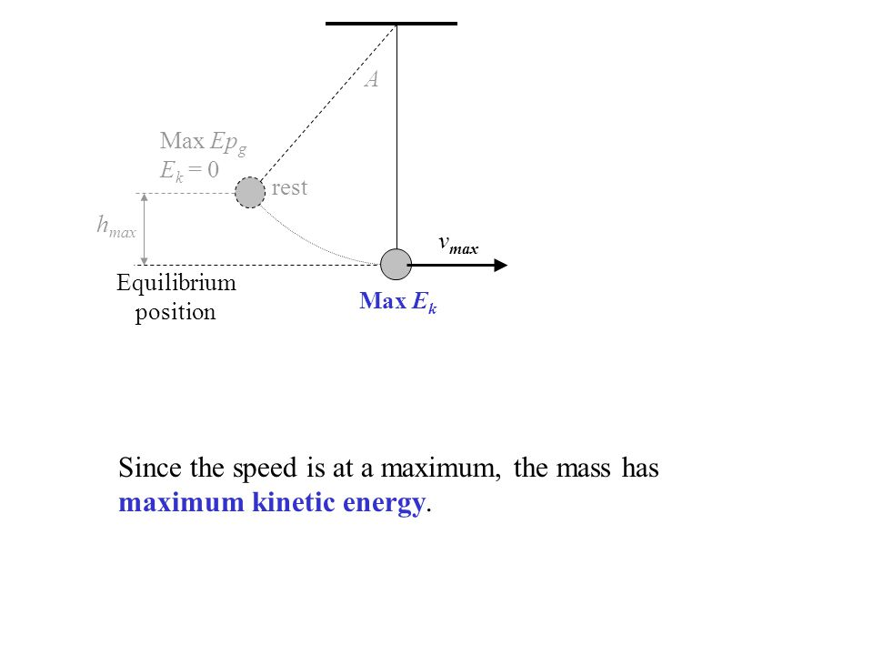 rest v max A h max Equilibrium position Max Ep g E k = 0 Since the speed is at a maximum, the mass has maximum kinetic energy. Max E k