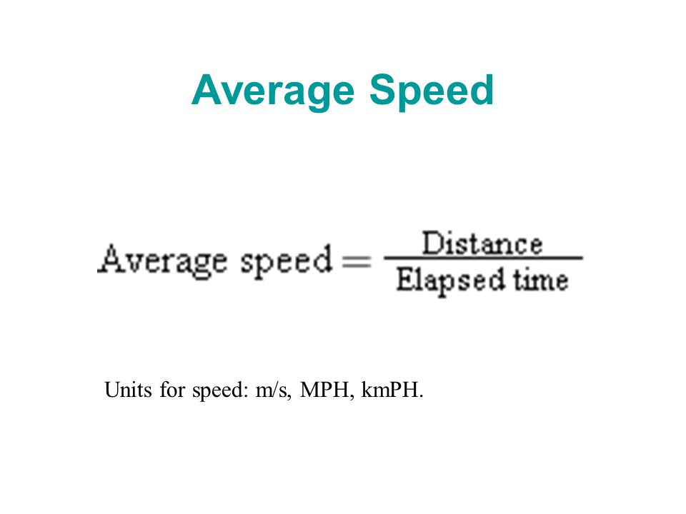 Average Speed Units for speed: m/s, MPH, kmPH.
