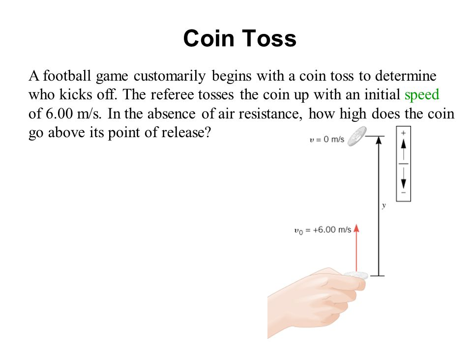 Coin Toss A football game customarily begins with a coin toss to determine who kicks off.
