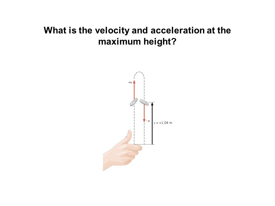 What is the velocity and acceleration at the maximum height?