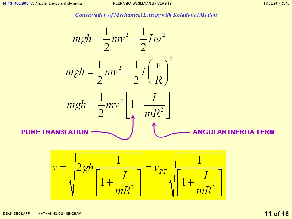 PHYS-1600/2000PHYS-1600/2000 IV6 Angular Energy and MomentumNEBRASKA WESLEYAN UNIVERSITYFALL 2014-2015 DEAN SIEGLAFF NATHANIEL CUNNINGHAM of 18 11 Conservation of Mechanical Energy with Rotational Motion PURE TRANSLATIONANGULAR INERTIA TERM