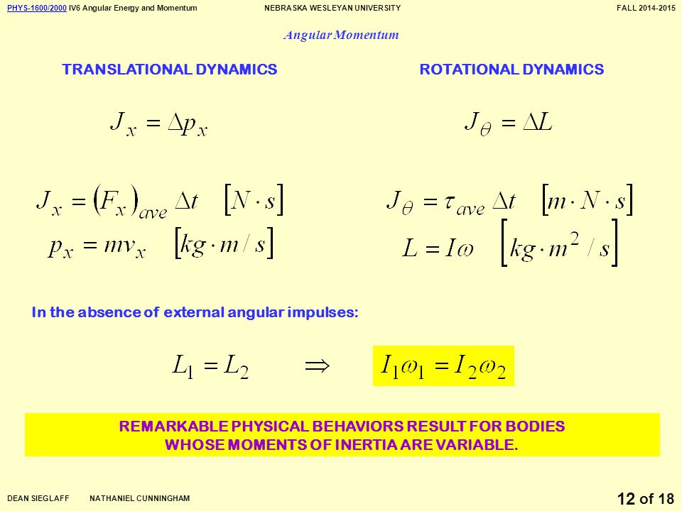 PHYS-1600/2000PHYS-1600/2000 IV6 Angular Energy and MomentumNEBRASKA WESLEYAN UNIVERSITYFALL 2014-2015 DEAN SIEGLAFF NATHANIEL CUNNINGHAM of 18 12 Angular Momentum TRANSLATIONAL DYNAMICSROTATIONAL DYNAMICS In the absence of external angular impulses: REMARKABLE PHYSICAL BEHAVIORS RESULT FOR BODIES WHOSE MOMENTS OF INERTIA ARE VARIABLE.