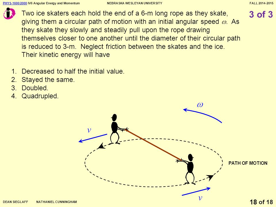 PHYS-1600/2000PHYS-1600/2000 IV6 Angular Energy and MomentumNEBRASKA WESLEYAN UNIVERSITYFALL 2014-2015 DEAN SIEGLAFF NATHANIEL CUNNINGHAM of 18 18 3 of 3 Two ice skaters each hold the end of a 6-m long rope as they skate, giving them a circular path of motion with an initial angular speed .
