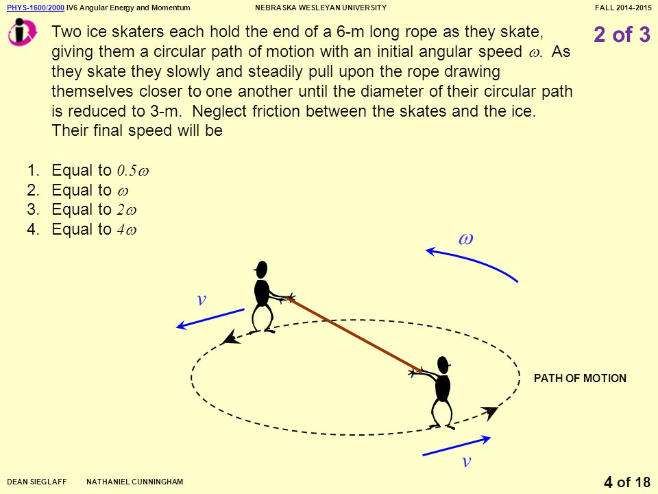 PHYS-1600/2000PHYS-1600/2000 IV6 Angular Energy and MomentumNEBRASKA WESLEYAN UNIVERSITYFALL 2014-2015 DEAN SIEGLAFF NATHANIEL CUNNINGHAM of 18 4 2 of 3 Two ice skaters each hold the end of a 6-m long rope as they skate, giving them a circular path of motion with an initial angular speed .