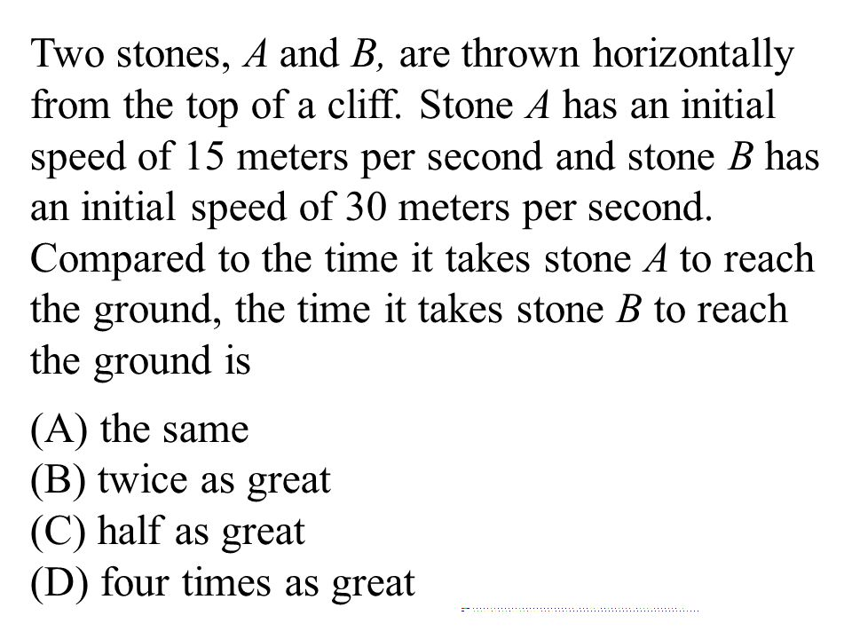 Two stones, A and B, are thrown horizontally from the top of a cliff. Stone A has an initial speed of 15 meters per second and stone B has an initial