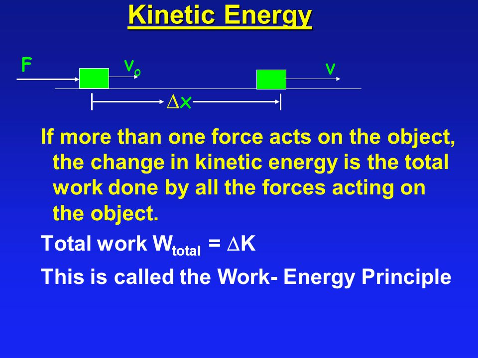 Kinetic Energy If more than one force acts on the object, the change in kinetic energy is the total work done by all the forces acting on the object.