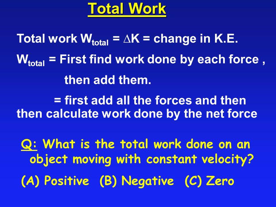 Total Work Total work W total =  K = change in K.E.