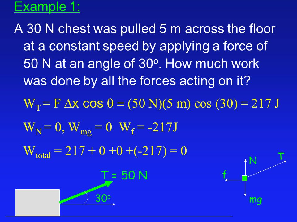 Example 1: A 30 N chest was pulled 5 m across the floor at a constant speed by applying a force of 50 N at an angle of 30 o.